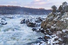 Great Falls del río Potomac durante invierno Imagen de archivo