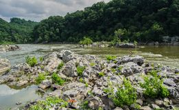 Great Falls Maryland Mountain top Landscape. With rocks and river in view Royalty Free Stock Image