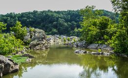 Great Falls Maryland Mountain top Landscape. With rocks and river in view Royalty Free Stock Photos