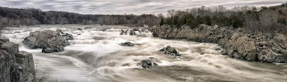 Great Falls Park Panorama. Rapids flowing across the rocks at Great Falls Park royalty free stock images