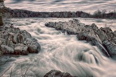 Great Falls Park. Rapids flowing across the rocks at Great Falls Park stock photos