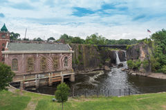 Great Falls Passaic flod i Paterson, NJ Fotografering för Bildbyråer