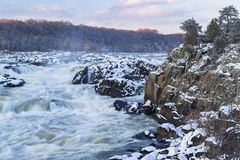 Great Falls of the Potomac River During Winter. The Potomac River tumbles down a series of cascades through a mile long gorge near Washington DC stock image