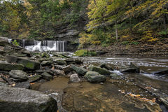 Great Falls of Tinker`s Creek Gorge. Beautiful autumn scene at The Great Falls of Tinker`s Creek Gorge in Cleveland Ohio stock photo