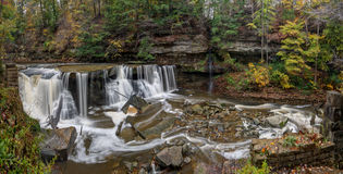 Great Falls of Tinker`s Creek Gorge. Beautiful autumn scene at The Great Falls of Tinker`s Creek Gorge in Cleveland Ohio stock images