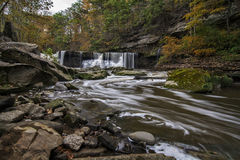 Great Falls of Tinker`s Creek Gorge. Beautiful autumn scene at The Great Falls of Tinker`s Creek Gorge in Cleveland Ohio stock photos