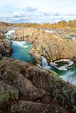 Great Falls vattenfall i Virginia Royaltyfri Foto