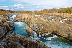 Great Falls vattenfall i Virginia Royaltyfri Bild