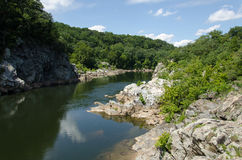Great Falls Virginia. Placid water at Great Falls Virginia with the sky reflected Stock Images
