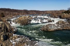 Great Falls Virginia Potomac River with Snow and Ice Stock Images