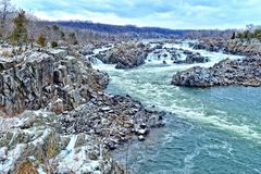 Great Falls with winter storm Stella, view from Virginia side Royalty Free Stock Photo