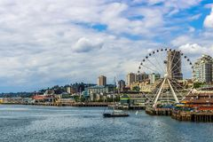 Great or Ferris Wheel and waterfront of Seattle royalty free stock photo
