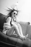 Great film moments: beautiful girl having fun Stock Image