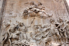 Great Fire of London Monument Frieze. A large allegorical limestone frieze carved onto the base of the Monument to the Great Fire of London, 1666 in the City of Royalty Free Stock Images