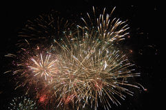 Great fireworks. Display, several multicolor explosions Royalty Free Stock Photos