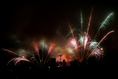 Great fireworks with many sparks and lights Royalty Free Stock Photos