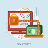 Yen Security Conceptual Design. Great flat illustration concept icon and use for currencies, payment, business and much more Royalty Free Stock Image