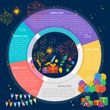 Fireworks Party Infographic Diagram. Great flat illustration concept icon and use for event, party, design, birthday and much more Stock Photo