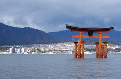 Great floating gate (O-Torii) on Miyajima island Royalty Free Stock Image