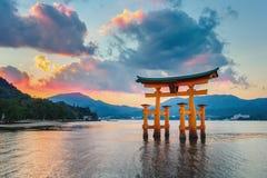 Great floating gate (O-Torii) on Miyajima island. MIYAJIMA, JAPAN - NOVEMBER 15: O-Torii in Miyajima, Japan on November 15, 2013. Great floating gate (O-Torii) royalty free stock images