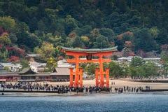 Great floating gate (O-Torii) on Miyajima island near Itsukushim Royalty Free Stock Image