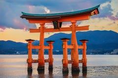 Great floating gate (O-Torii) on Miyajima island. Near Itsukushima shinto shrine royalty free stock photo