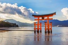 Great floating gate (O-Torii) on Miyajima island. Near Itsukushima shinto shrine MIYAJIMA, JAPAN - NOVEMBER 15: O-Torii in Miyajima, Japan on November 15, 2013 royalty free stock image