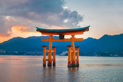 Great floating gate (O-Torii) on Miyajima island Royalty Free Stock Images