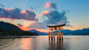 Great floating gate (O-Torii) on Miyajima island Stock Photos