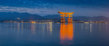 Great floating gate (O-Torii) on Miyajima island. Near Itsukushima shinto shrine, Japan shortly after the sunset stock photography