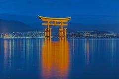 Great floating gate (O-Torii) on Miyajima island. Near Itsukushima shinto shrine, Japan shortly after the sunset stock image