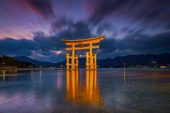 Great floating gate (O-Torii) on Miyajima island. Royalty Free Stock Images