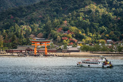 Great floating gate (O-Torii) on Miyajima island near Itsukushim Stock Photography