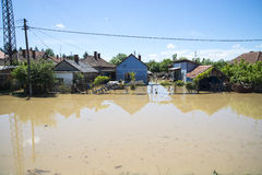 Great flood which included houses, fields, forests Royalty Free Stock Photography