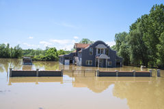Great flood which included houses, fields, forests Stock Image