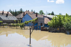 Great flood which included houses, fields, forests stock photo
