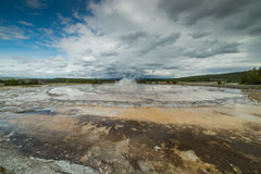Great Fountain Geyser in the Firehole Lake area of Lower Geyser Basin of Yellowstone National Park stock image