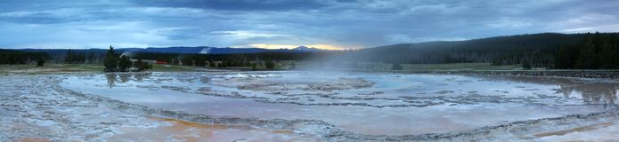 Great Fountain Geyser Panoramic Stock Photography