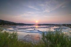 Great Fountain Geyser sunset Stock Photo