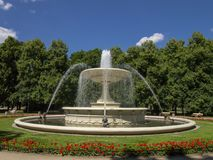 Great fountain in park Warsaw - Poland. Summer season great fountain in park European city Warsaw - Poland stock photos