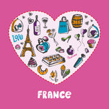 Great France Colored Doodles Vector Collection. Love France. White heart filled with vintage doodles related with french culture isolated on pink background Stock Images