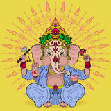 Great Ganesha. Ornate. God of wisdom and prosperity Royalty Free Stock Images