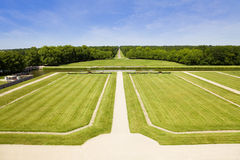 Great garden of Chambord Chateau. Meadows and forest from Chambord Chateau, France stock photos
