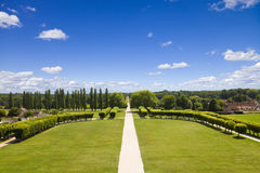 Great garden of Chambord Chateau. Meadows and forest from Chambord Chateau, France stock photo