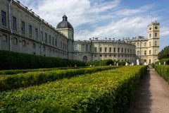 A beautiful castle in Gatchina. Walking in the park area stock photos
