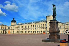 Great Gatchina Palace and monument to Paul I, Russia Stock Photo