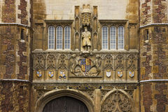 The Great Gate Entrance of Trinity College. Detail of the great gate entrance of Trinity College in Cambridge, United Kingdom Stock Photo