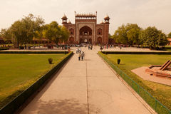 The Great Gate of the Taj Mahal from entrance Stock Images