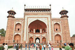 The great gate to the Taj Mahal, Agra,India. The beautiful great gate (called as Darwaza-i rauza) to the Taj Mahal, at Agra, India is made out of primarily red Stock Images