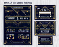 Great Gatsby Art Deco Wedding Invitation Design Template. Include RSVP card, Save the date card, thank you tags. Classic Premium Vintage Style Frame Vector Stock Photo